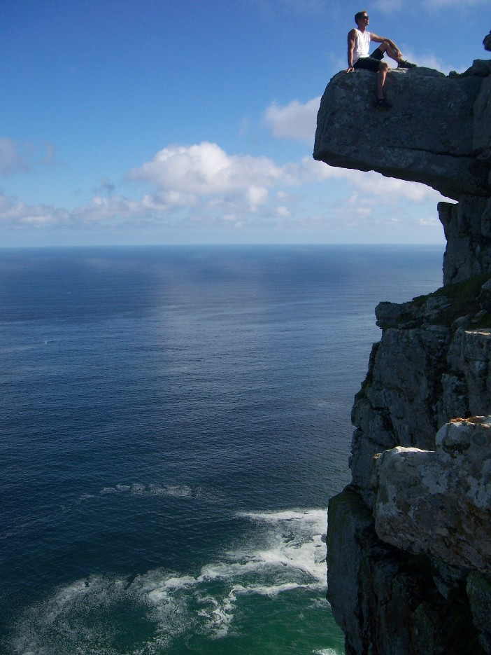 Hyfsad utsikt från stupen vid Cape Point, just bredvid Cape of Good Hope